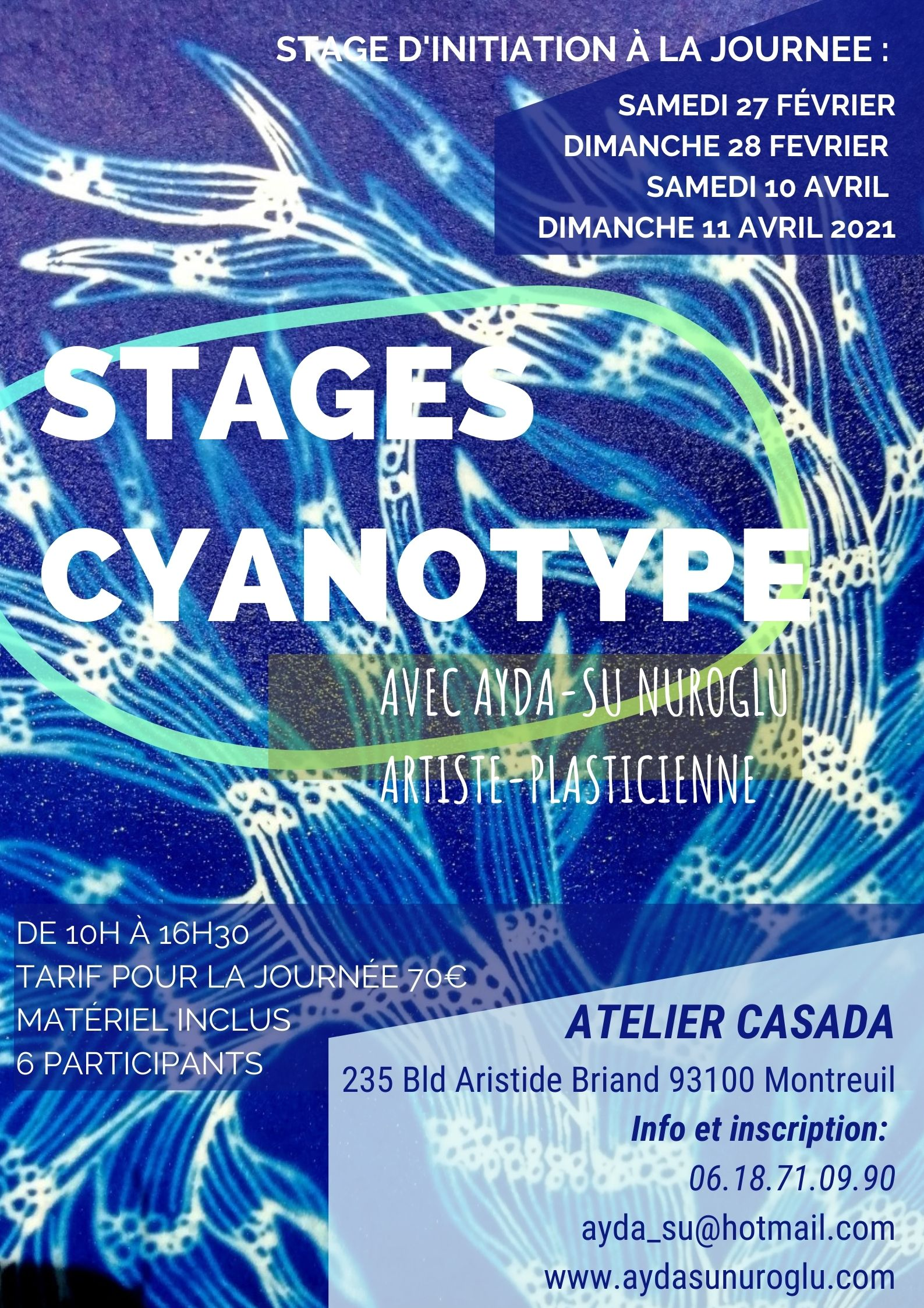 stage cyanotype  workshops Montreuil Paris initiation artistique